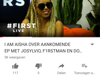I AM AISHA OVER AANKOMENDE EP MET JOSYLVIO, F1RSTMAN EN DOPEBWOY #FIRST